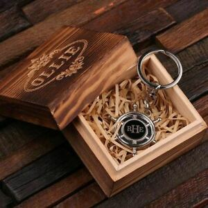 Ahoy Sailors Personalized Stainless Steel Ships Wheel Nautical Keychain Keyring $10.92