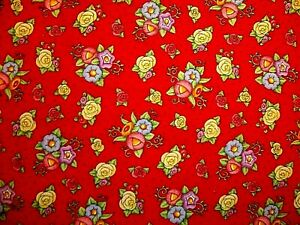 HTF 2002 MARY ENGELBREIT EGG ROSE FLORAL PINK YELLOW BLUE RED COTTON FABRIC FQ