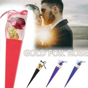 Romantic 24K Gold Foil Rose Artificial Roses Home Decor Valentines Gifts B2C5