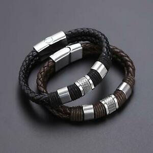 Fashion Braided Leather Silver Stainless Steel Cuban Chain Couple Bracelet US $7.29