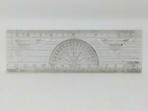 Vintage Ruler with Protractor amp; Triangles Built in 6 Inch Plastic Made in USA C $13.95