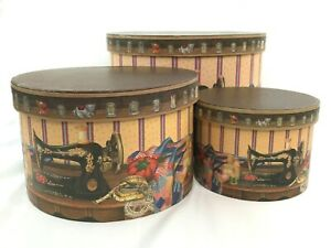 Lot of 3 Nesting Sewing Boxes Lift Out Tray Stitch In Time Revelations Cardboard $18.99