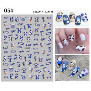 Dragon Snake 3D Nail Stickers Cute Cow Nail Art Decals Manicure Tips Decoration