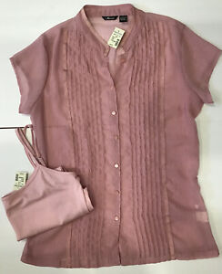 Maurices Silky Sheer Button Blouse Ruffels amp; Camisole Top Fishing Pink Size LRG