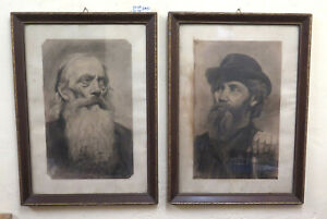 Two Paintings Antique Portraits Man#x27;s Germany Berlin Signed Drawing BM51 $638.22