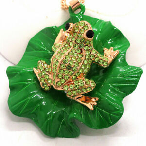 Hot Betsey Johnson Crystal Cute Green Frog Lotus Leaf Pendant Chain Necklace