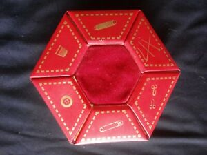 Portable Vintage Sewing Kit Spinning Hexagon Box Red Leather Made in Germany $30.80