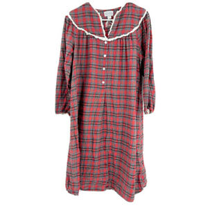 Vintage Lanz of Salzburg Red Plaid Cotton Flannel Christmas Nightgown Size S $40.00