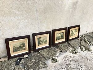 Set of Four Antique Shooting Prints in Wooden Frames After George Morland 176 GBP 150.00