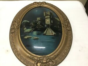 """Antique """"On the Danube"""" Reverse Painted on Convex Glass in Oval Frame 26""""x19"""" $110.00"""