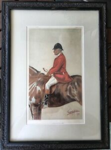 Antique Vanity Fair Fox Hunter Lithographquot;A Leicestershire Manquot; 1899 framed $250.00