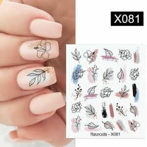 Halloween event discount Women Black Lines Flower Leaves Water Decals Stickers F