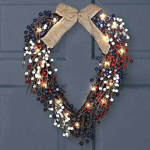 Artificial Patriotic Heart Wreath Grapevine with Lights Spring and Summer Wreath $34.49