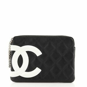 Chanel Cambon Zip Wristlet Pouch Quilted Leather Small $672.00