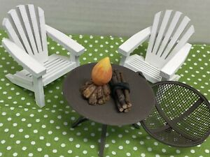 Miniature Scale 1:12 Patio Chairs amp; Fire Pit Scene $12.00