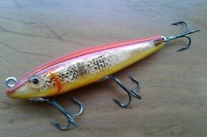 Vtg Lamp;S MirrOlure Fishing Lure Red Gold Yellow 7M28 Floater 3 1 2quot; U.S.A.