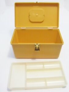 Vintage Wil Hold Wilson Mfg. Sewing Box Pullout Tray Harvest Gold $22.99