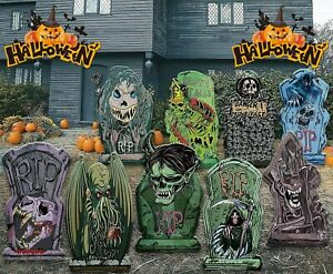 9 Halloween Yard Stakes Scary Tombstones Cemetery Decoration Large Outdoor Props $22.99