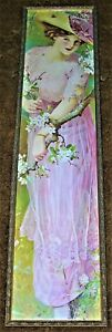 VINTAGE FRENCH quot;SPRING BLOSSOMSquot; LADY CHROMOLITHOGRAPH YARD LONG PRINT $279.99