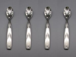 Sasaki Stainless Double Helix Oval Soup Place Spoons Set of Four New