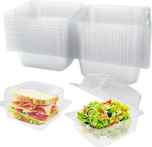Clear Plastic Square Hinged Food Containers Clamshell Takeout Tray Disposable $17.89
