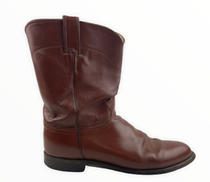 Justin Boots Mens Roper Cowboy Western Boots Brown Pull On Round Toe 12