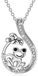 Frog Necklace Sterling Silver Cute Frog Lotus Leaf Pendant Necklace for Women