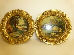 VINTAGE Made in Italy Pair of Framed Prints Bucolic Scenes Round Ornate Frames $10.99