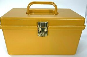 Vintage Wilson Mfg Wil Hold Plastic Sewing Box Storage Case Yellow Gold USA $34.97