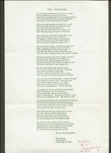 MAY SARTON ORIGINAL SIGNED POETRY quot;THE ANNEALINGquot; $35.00