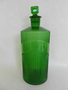 antique apothecary green ribbed bottle w ground glass stopper $40.00