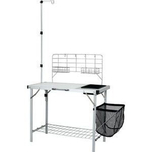 Portable Camp Kitchen and Sink Table with Lantern Pole Outdoor Sporting Goods
