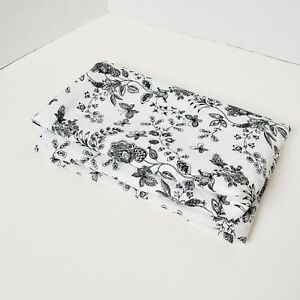 Cotton Blend Fabric sewing quilting clothing Black and White Floral 3 Yards New $15.87