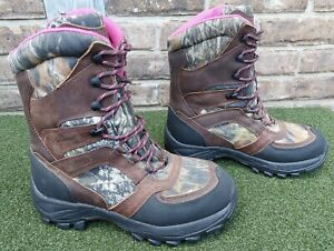 WOLVERINE THINSULATE 600 GM CAMO PINK BROWN WOMENS HUNTING BOOTS SZ 7M Y5 W30016