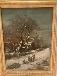 Antique oil painting 1884 Charming Christmas scene. Signed $625.00