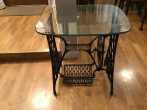 Antique Singer Treadle Sewing Machine Cast Iron Base Stand Table w Custom Glass $199.00
