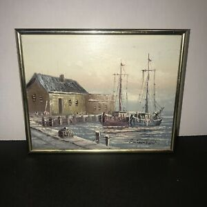 Vintage Fishing Dock Boats Seascape painting oil on board by Brian Roche $19.99