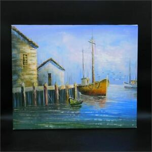 Harbor Signed by Benglis 24quot;x20quot; on Stretched Canvas Oil Painting $250.00