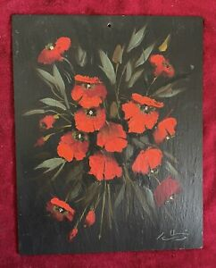 Vintage Red Poppies On Slate Oil Painting Signed $79.99