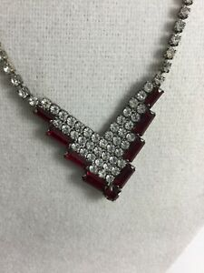 Vintage Signed AFTER THOUGHTS Silvertone Red Clear Rhinestones Necklace $14.95