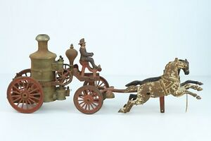 antique early 1900s cast iron toy 2 horse