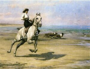 VICTORIAN Lady SIDESADDLE Beach CANVAS Collie Art Print $25.90