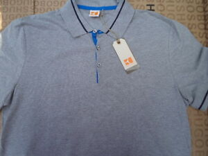 NEW HUGO BOSS ORANGE LABEL DESIGNER BAG GREY FITTED POLO SUIT TIE T SHIRT SMALL $62.04