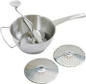NEW NORPRO 595 3 IN 1 STAINLESS STEEL 2 QT FOOD MILL DELUXE STRAINER WITH DISC