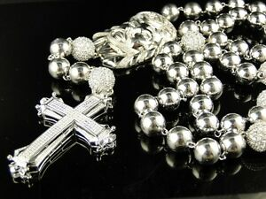 Mens Xl Beaded 14 Mm White Gold Finish Beaded Jesus Diamond Rosary Necklace 4 Ct