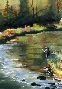 Fly Fishing quot;IN THE SEAMquot; Giclee 5 x 7 Art Print Signed by Artist DJR