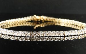 NEW MENS LADIES 1 ROW DIAMOND YELLOW GOLD FINISH TENNIS BRACELET 7 INCH