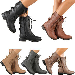 Womens Combat Military Boots Lace Up Buckle New Women Fashion Boot Shoes Size $26.98