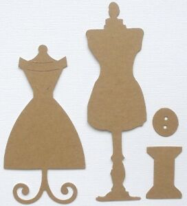 {40 Pc}  DRESS ME UP - Dress Form Kit - Bare Alterable's Chipboard Die Cuts