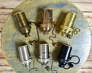 Solid Brass Light Socket Pull Chain On Off Vintage Industrial Lamps Pendants